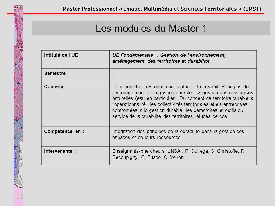 Les modules du Master 1 Intitulé de l UE