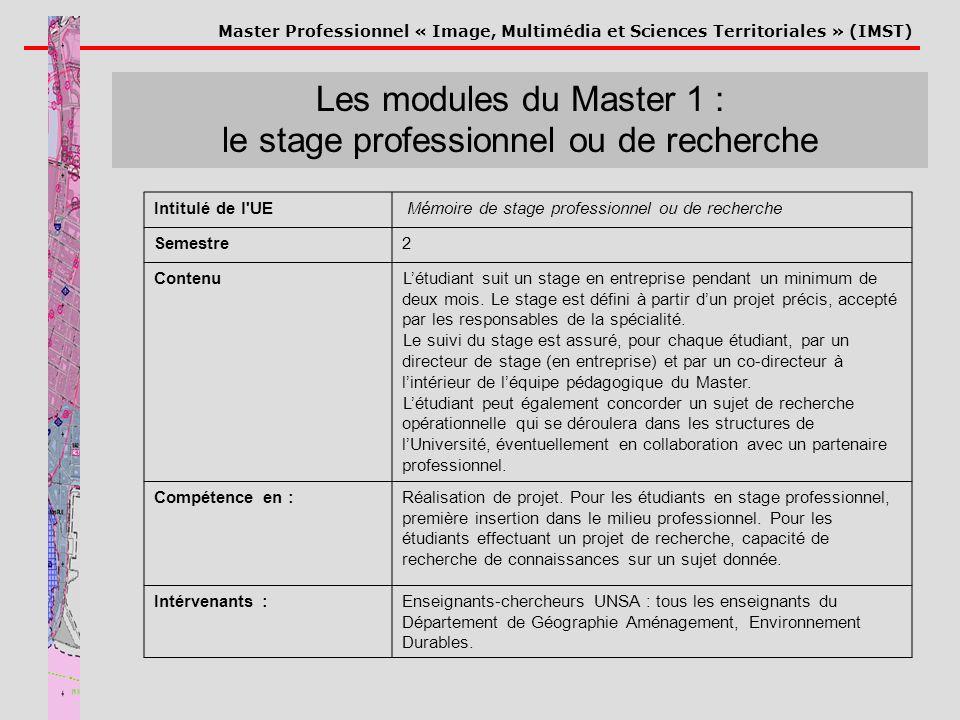 Les modules du Master 1 : le stage professionnel ou de recherche