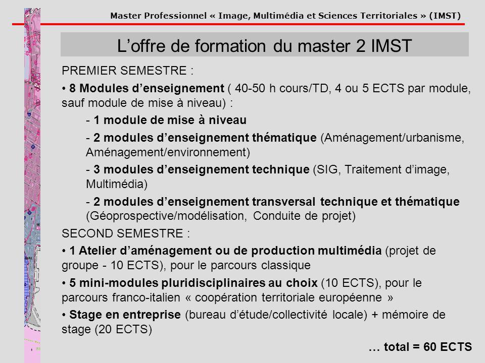 L'offre de formation du master 2 IMST