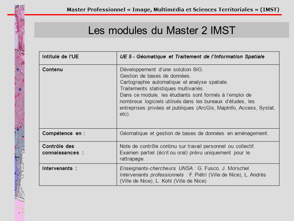 Les modules du Master 2 IMST