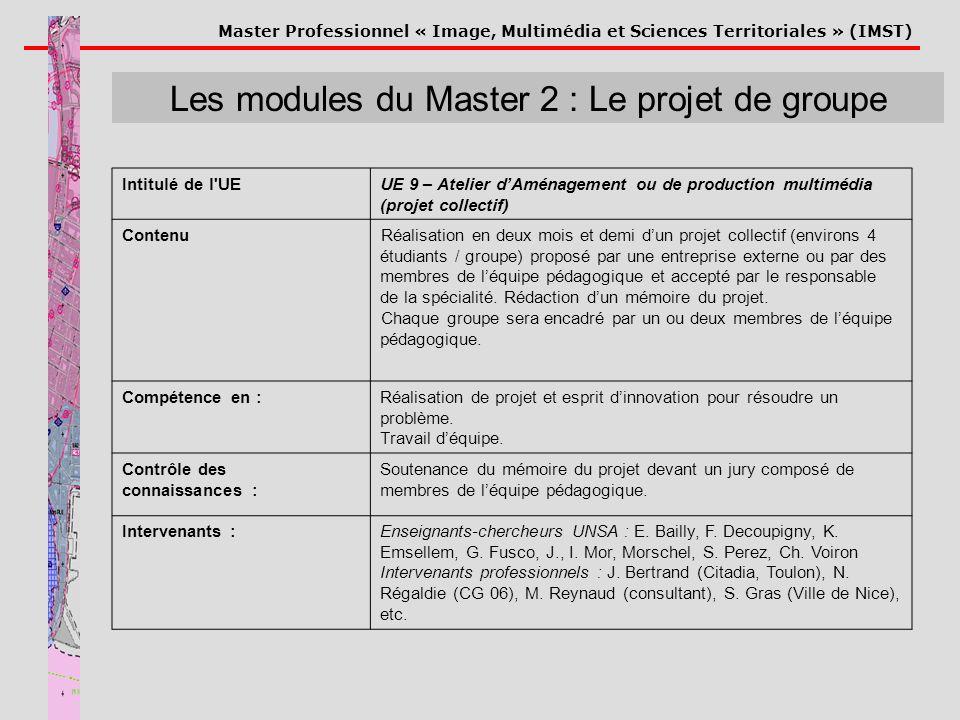 Les modules du Master 2 : Le projet de groupe