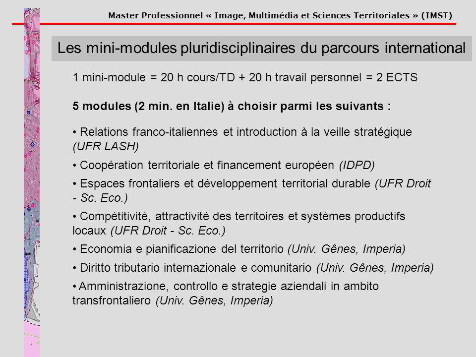 Les mini-modules pluridisciplinaires du parcours international
