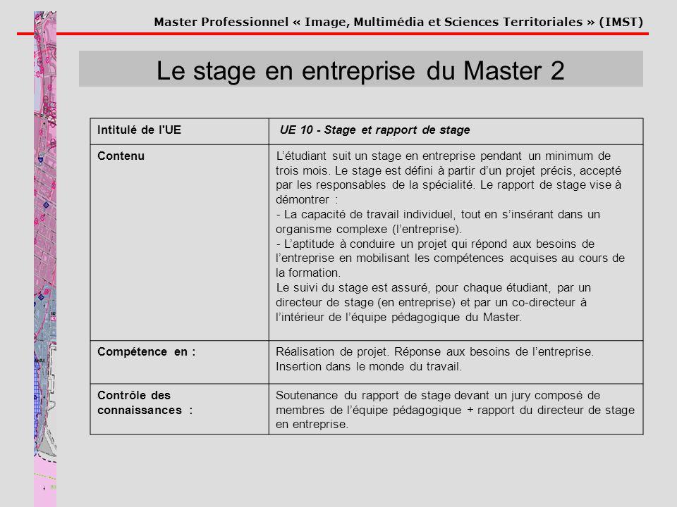 Le stage en entreprise du Master 2