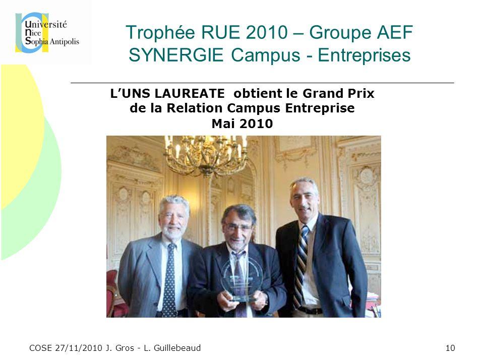 Trophée RUE 2010 – Groupe AEF SYNERGIE Campus - Entreprises