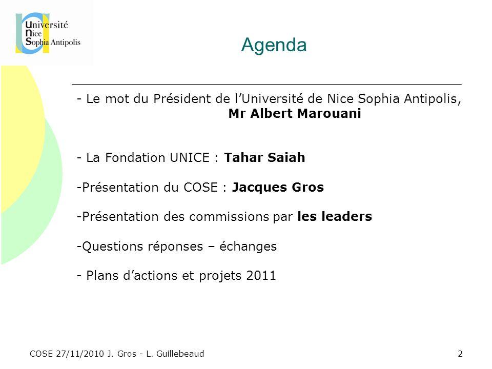 Agenda Le mot du Président de l'Université de Nice Sophia Antipolis,