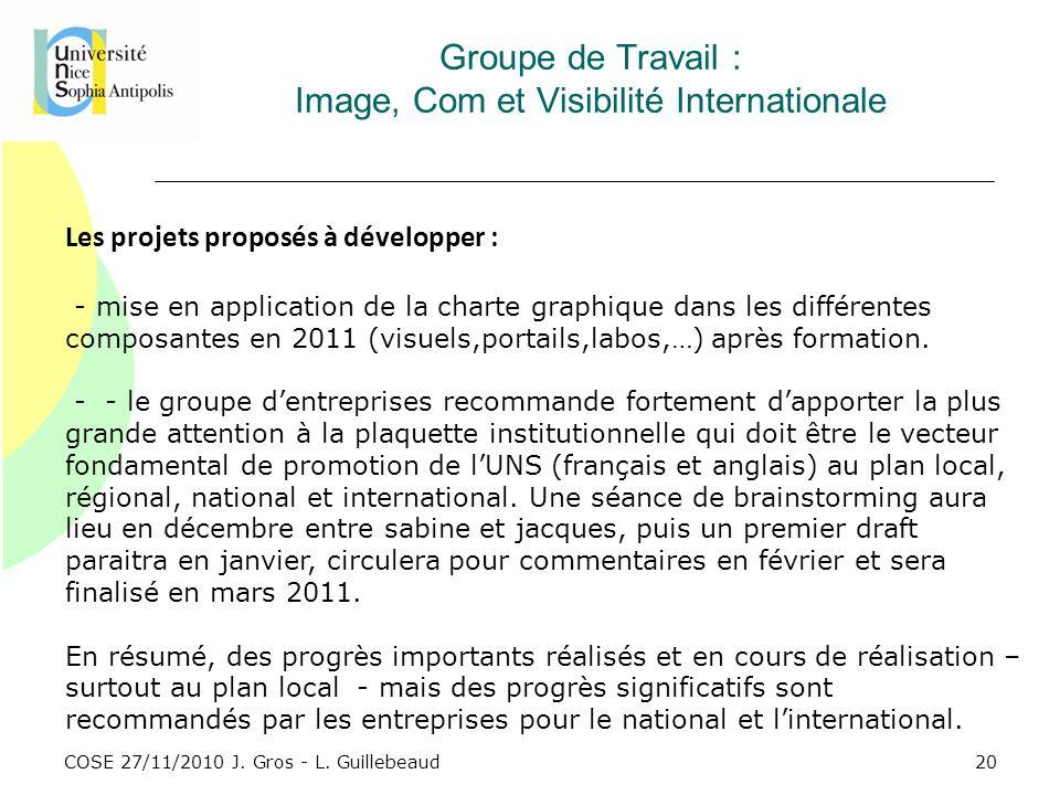 Groupe de Travail : Image, Com et Visibilité Internationale