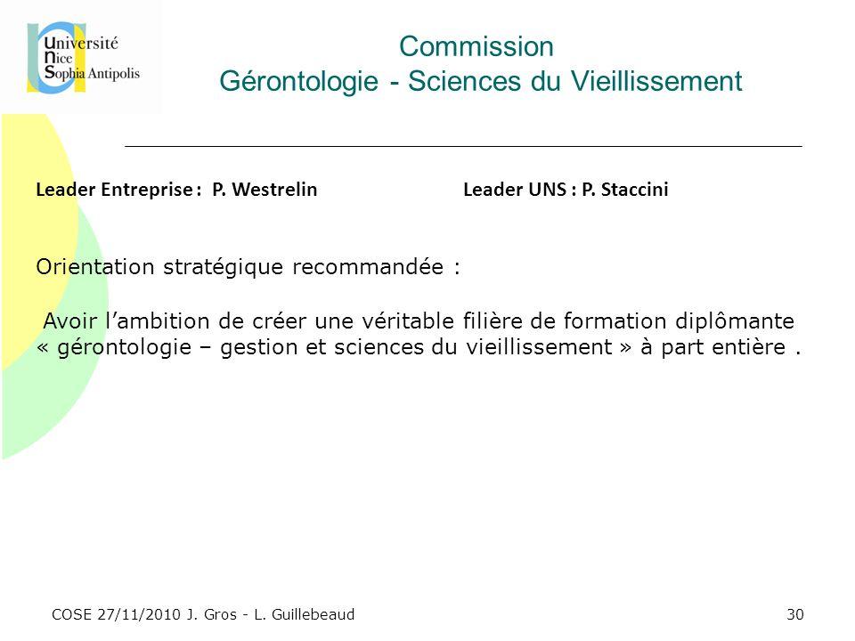 Commission Gérontologie - Sciences du Vieillissement
