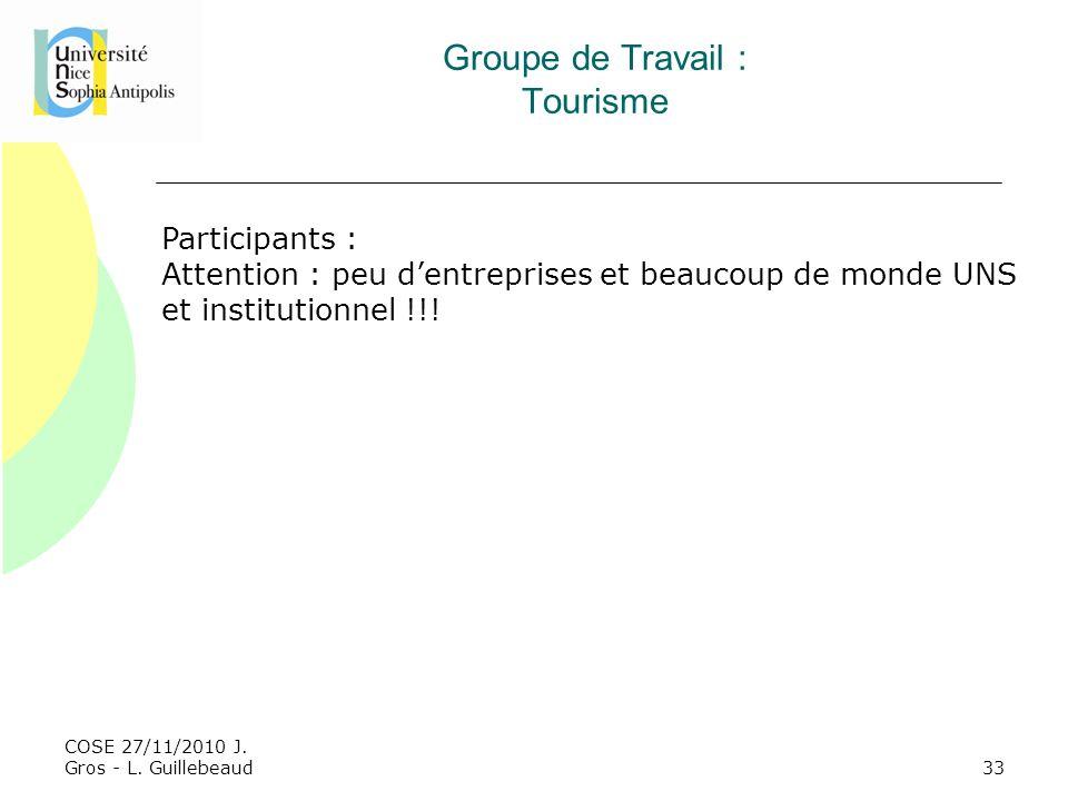 Groupe de Travail : Tourisme