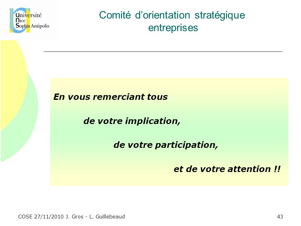 Comité d'orientation stratégique entreprises