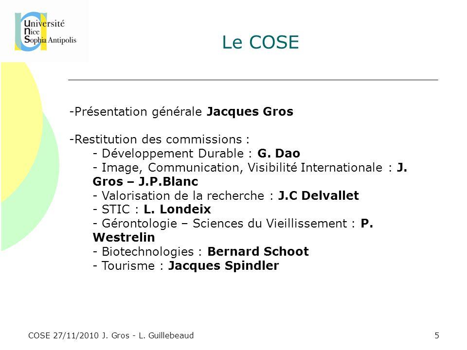 Le COSE Présentation générale Jacques Gros