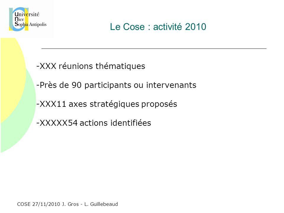 Le Cose : activité 2010 XXX réunions thématiques