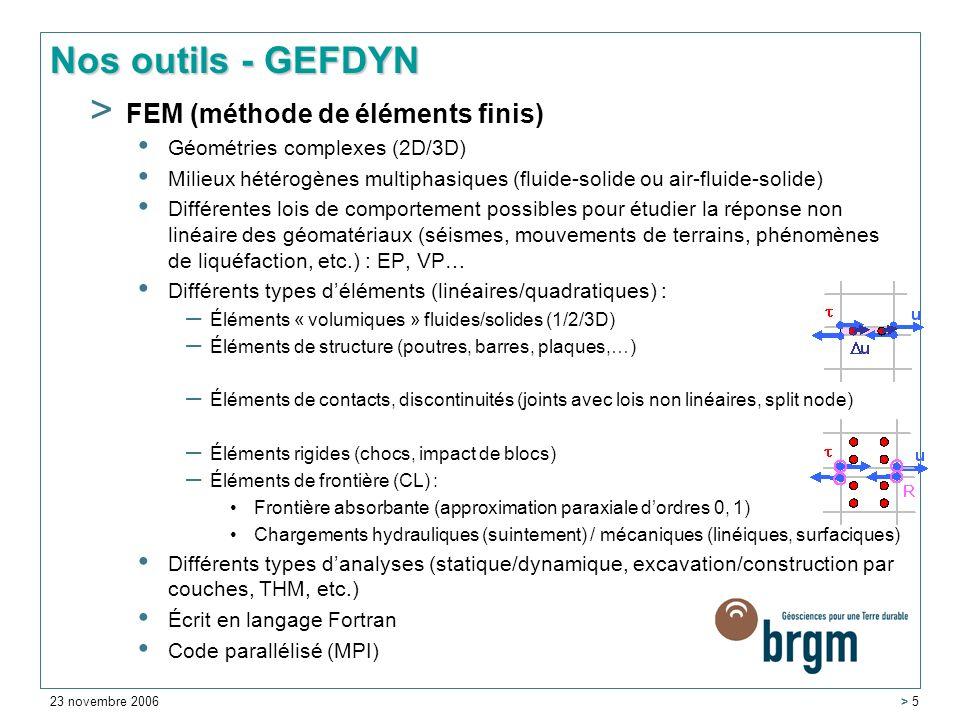 Nos outils - GEFDYN FEM (méthode de éléments finis)