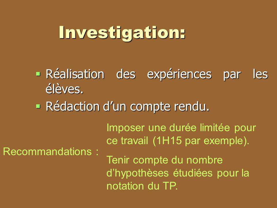 Investigation: Réalisation des expériences par les élèves.