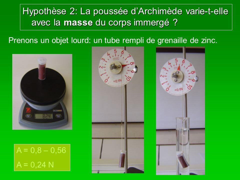 Hypothèse 2: La poussée d'Archimède varie-t-elle avec la masse du corps immergé