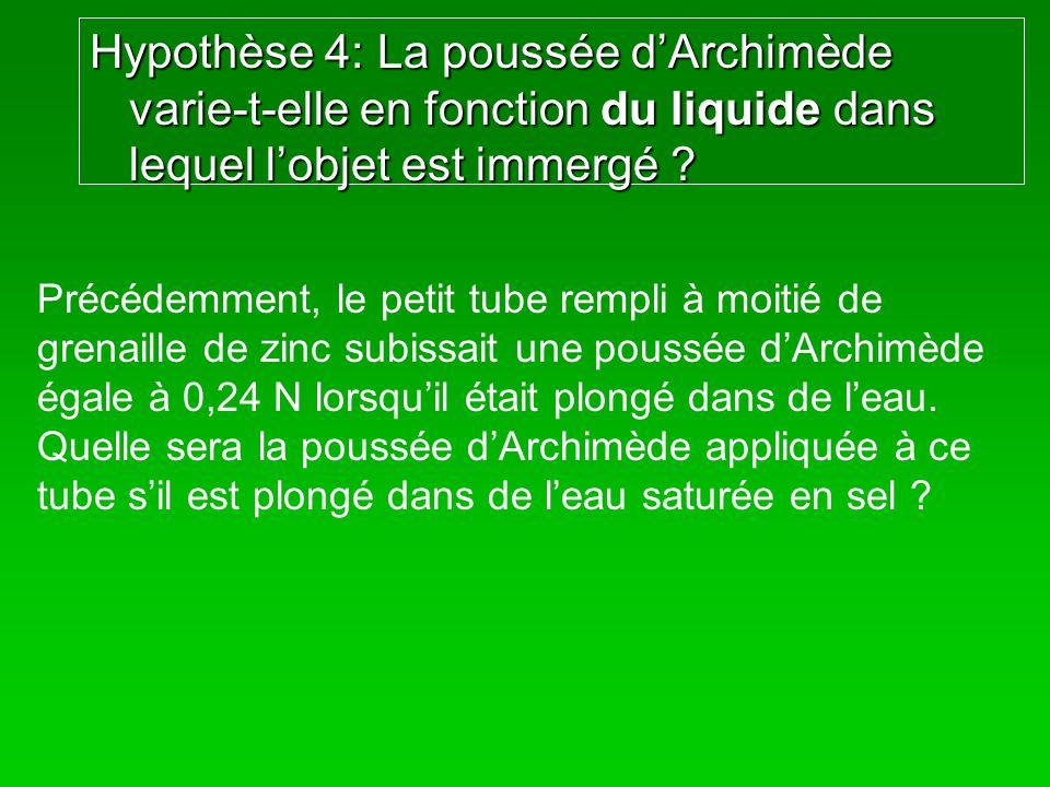 Hypothèse 4: La poussée d'Archimède varie-t-elle en fonction du liquide dans lequel l'objet est immergé