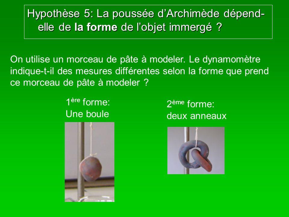 Hypothèse 5: La poussée d'Archimède dépend-elle de la forme de l'objet immergé
