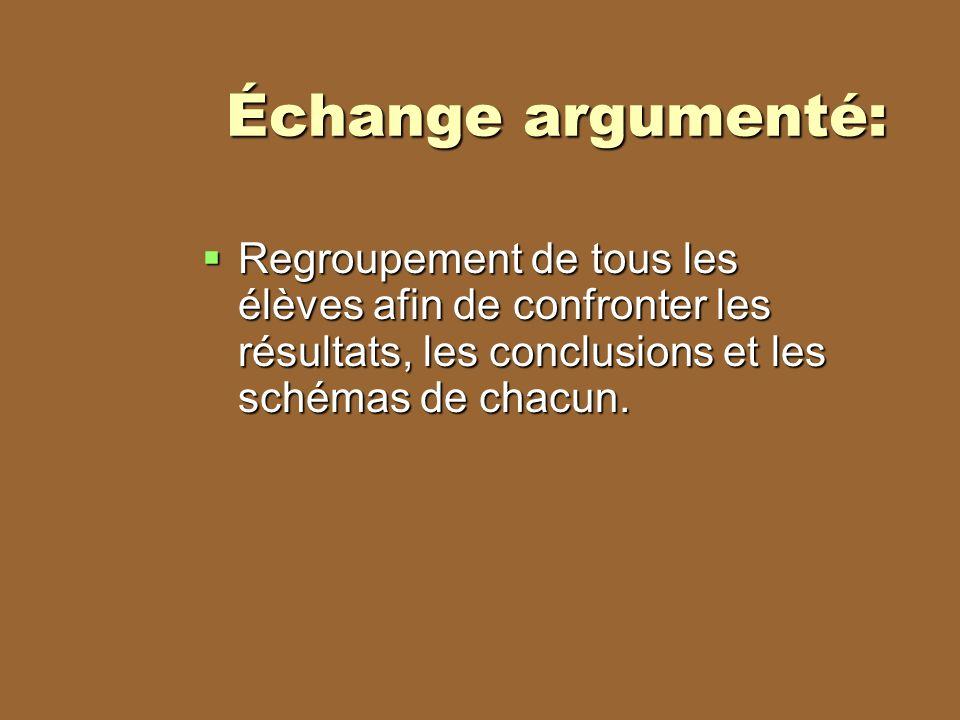 Échange argumenté: Regroupement de tous les élèves afin de confronter les résultats, les conclusions et les schémas de chacun.