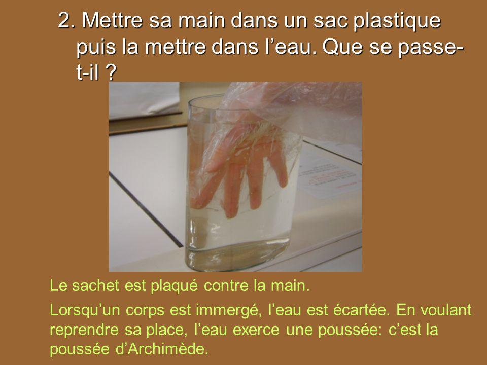 2. Mettre sa main dans un sac plastique puis la mettre dans l'eau