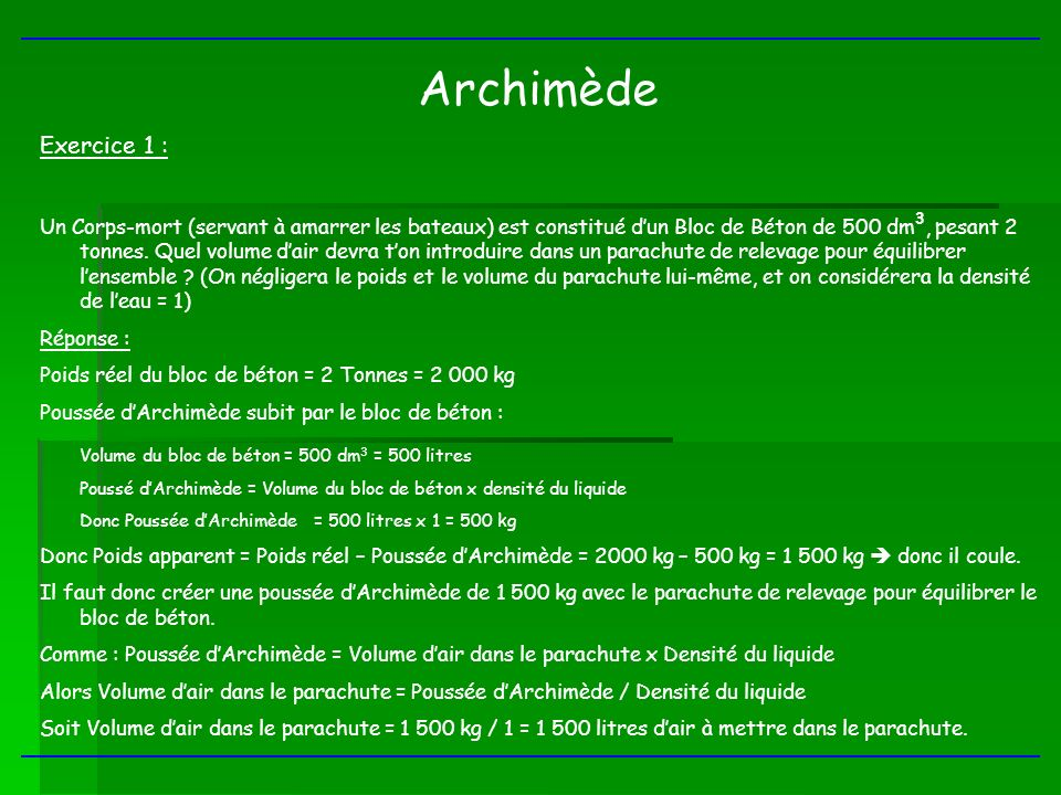 Archimède Exercice 1 :