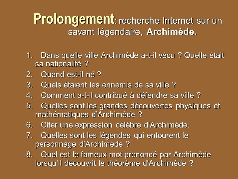 Prolongement: recherche Internet sur un savant légendaire, Archimède.