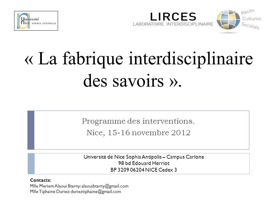 « La fabrique interdisciplinaire des savoirs ».