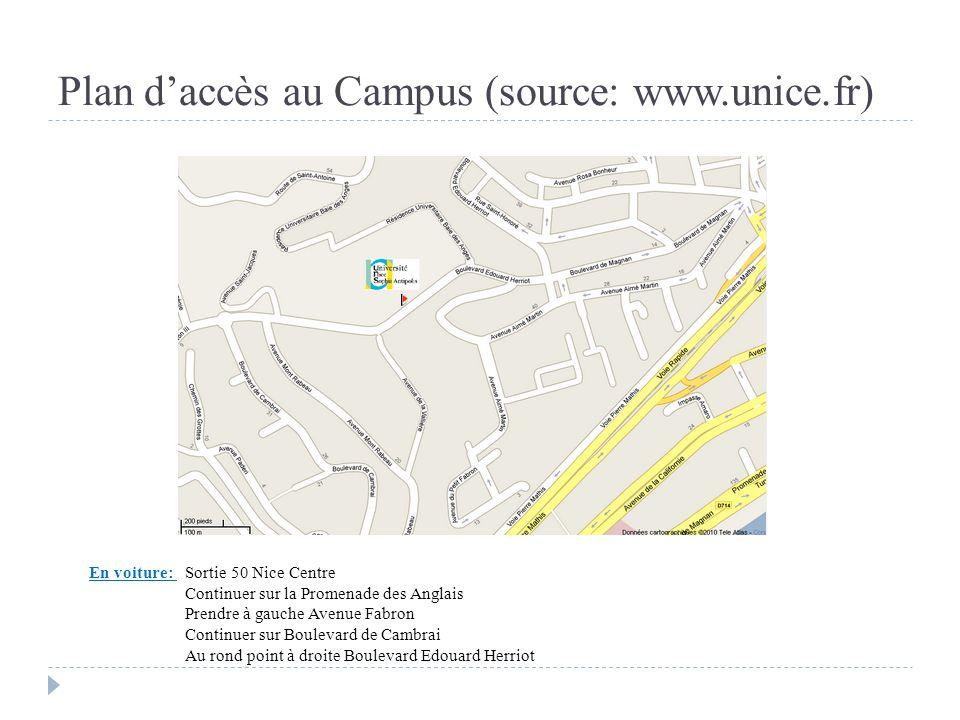 Plan d'accès au Campus (source: www.unice.fr)