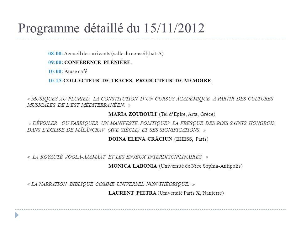 Programme détaillé du 15/11/2012