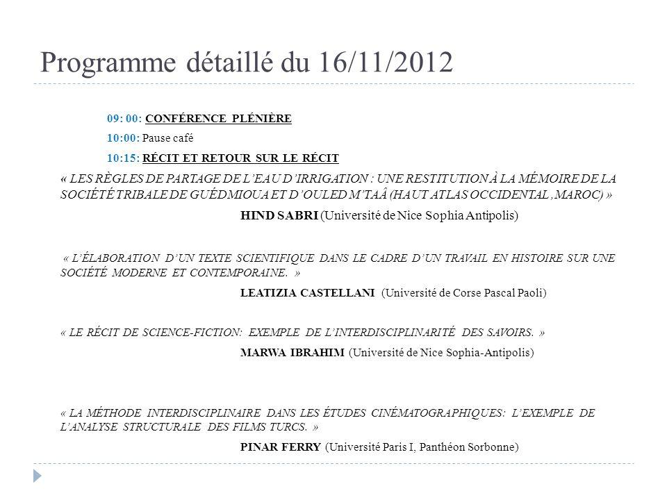 Programme détaillé du 16/11/2012