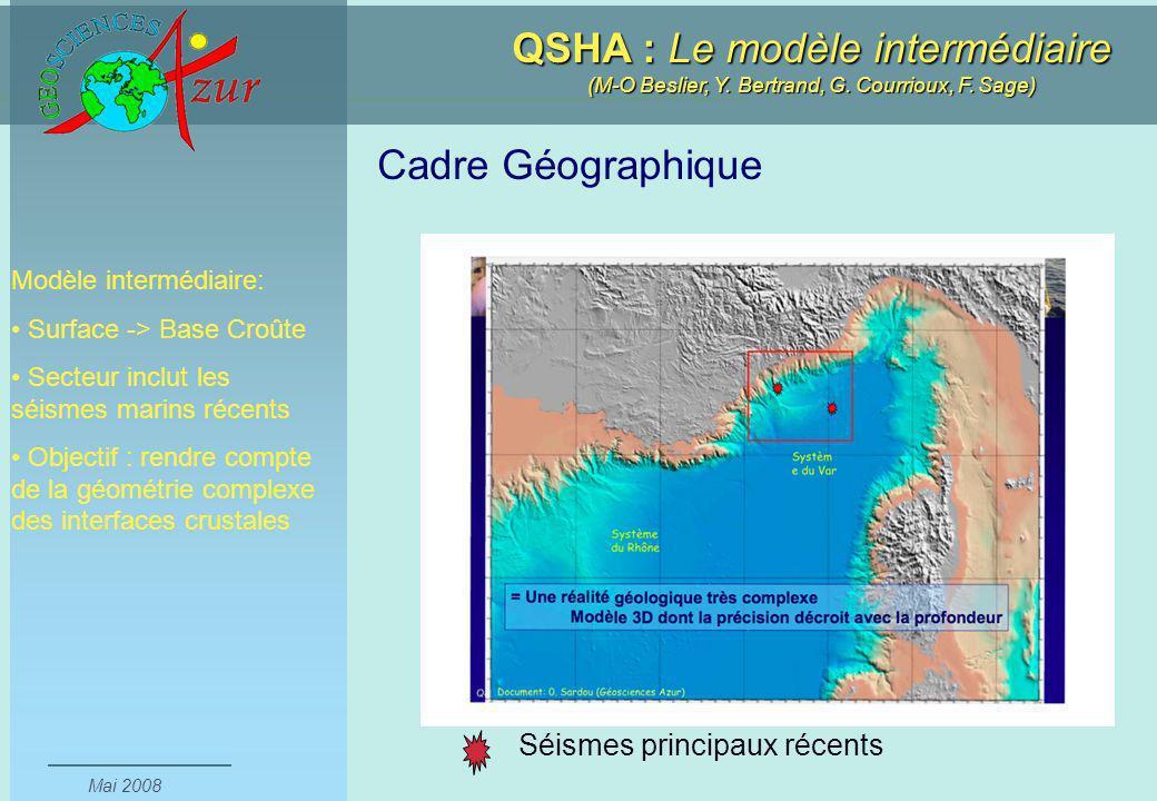 Cadre Géographique Séismes principaux récents Modèle intermédiaire: