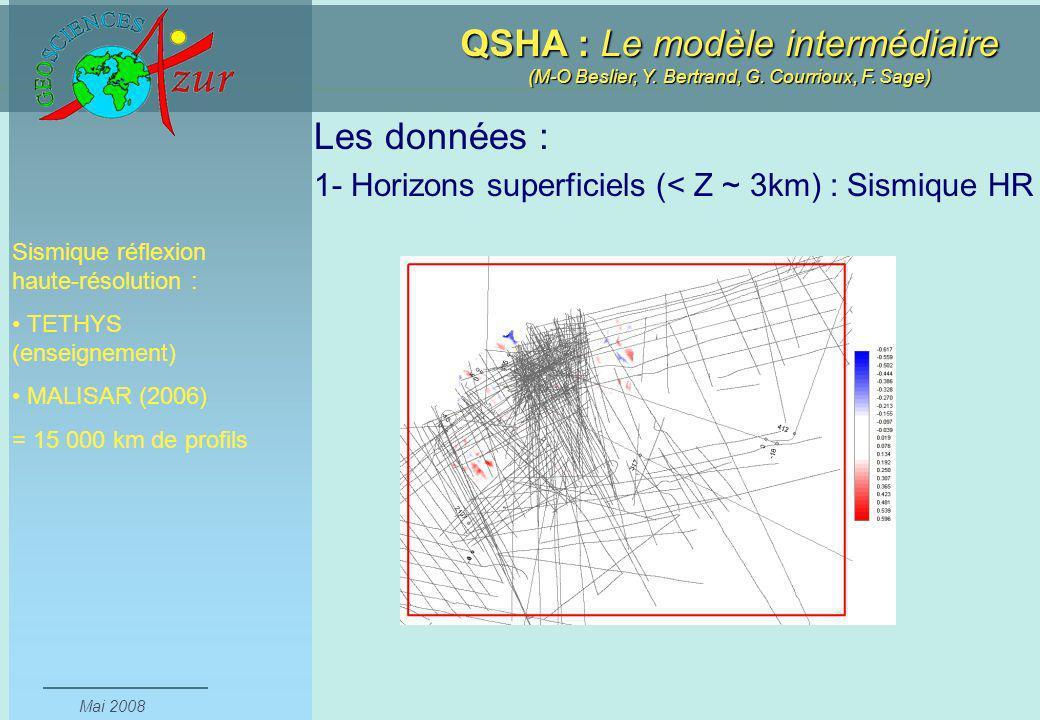 Les données : 1- Horizons superficiels (< Z ~ 3km) : Sismique HR