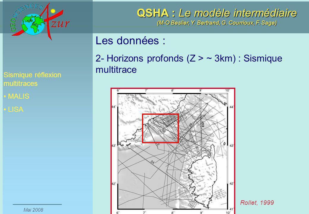 Les données : 2- Horizons profonds (Z > ~ 3km) : Sismique multitrace. Sismique réflexion multitraces.