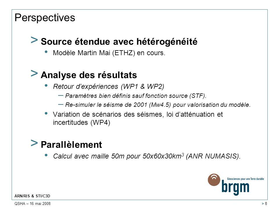 Perspectives Source étendue avec hétérogénéité Analyse des résultats
