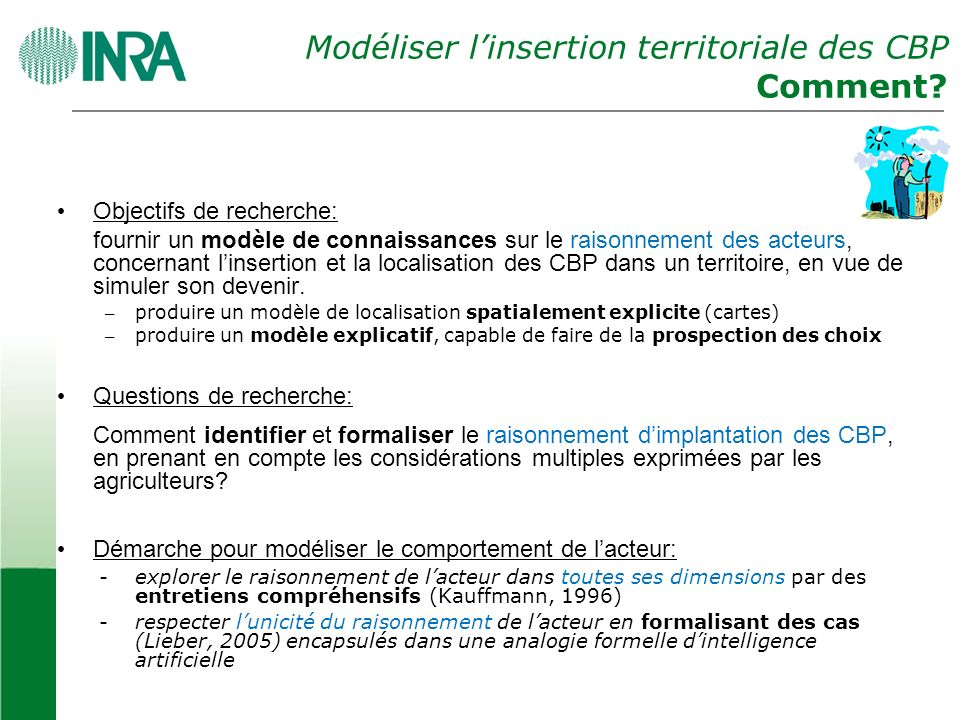 Modéliser l'insertion territoriale des CBP Comment