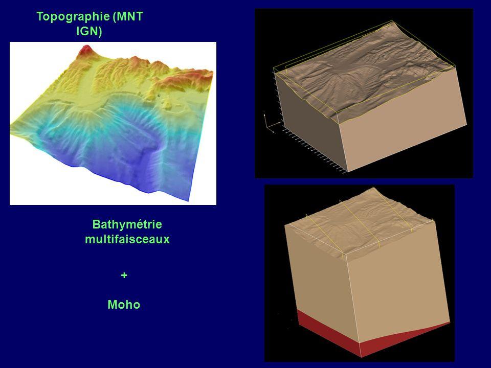 Topographie (MNT IGN) Bathymétrie multifaisceaux + Moho