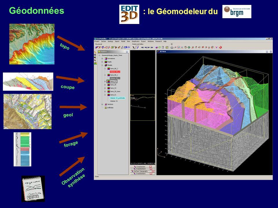 Géodonnées : le Géomodeleur du topo coupe geol forage Observation