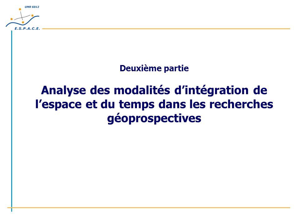 Deuxième partie Analyse des modalités d'intégration de l'espace et du temps dans les recherches géoprospectives