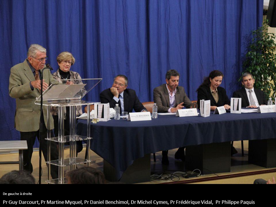 De gauche à droite Pr Guy Darcourt, Pr Martine Myquel, Pr Daniel Benchimol, Dr Michel Cymes, Pr Frédérique Vidal, Pr Philippe Paquis.