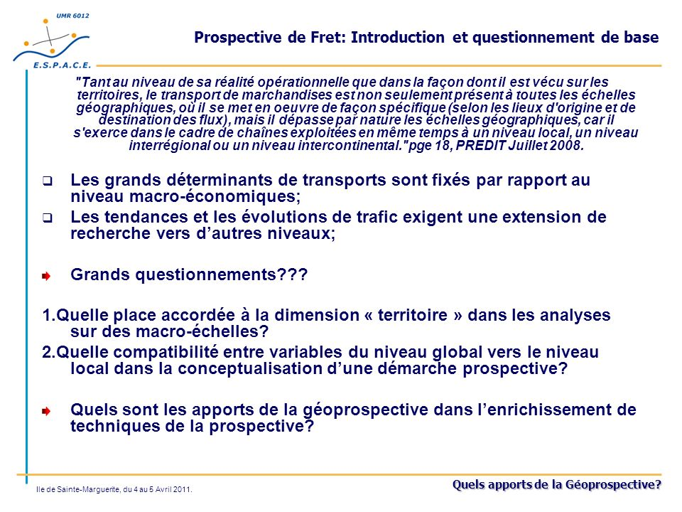 Prospective de Fret: Introduction et questionnement de base