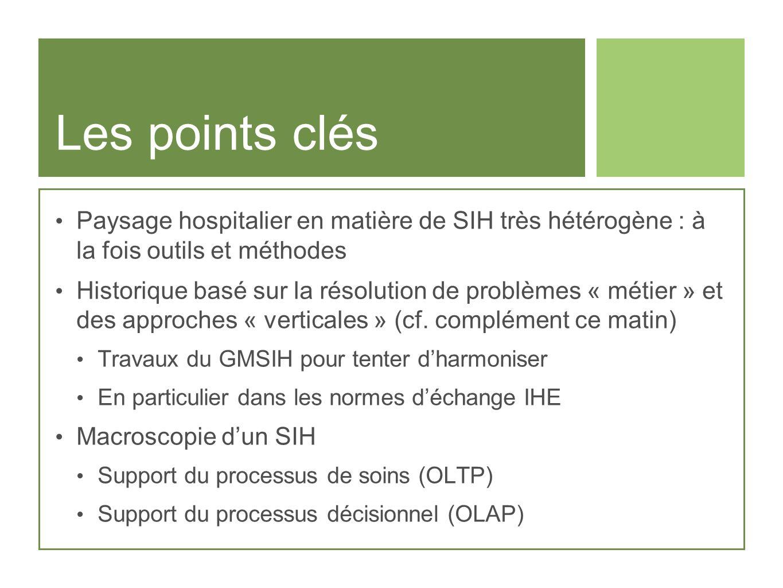 Les points clés Paysage hospitalier en matière de SIH très hétérogène : à la fois outils et méthodes.