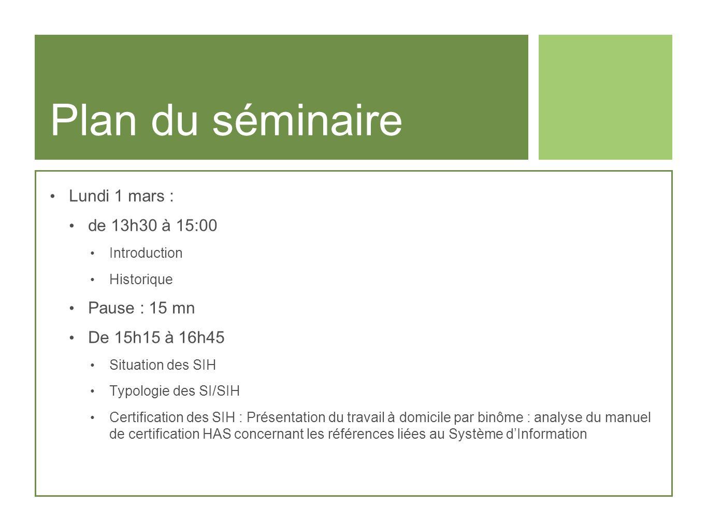 Plan du séminaire Lundi 1 mars : de 13h30 à 15:00 Pause : 15 mn