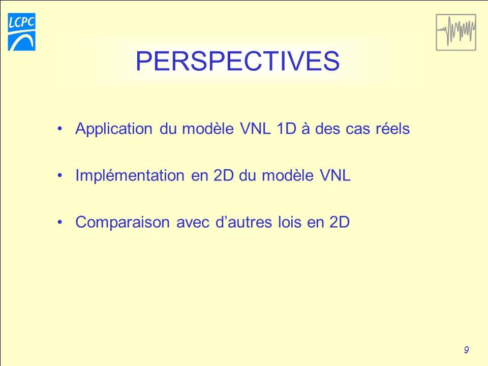 PERSPECTIVES Application du modèle VNL 1D à des cas réels