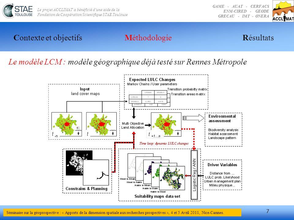 Le modèle LCM : modèle géographique déjà testé sur Rennes Métropole