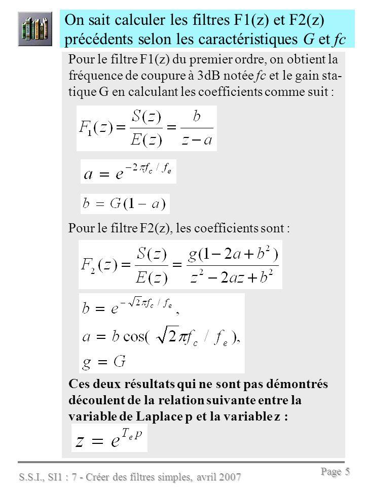 On sait calculer les filtres F1(z) et F2(z) précédents selon les caractéristiques G et fc