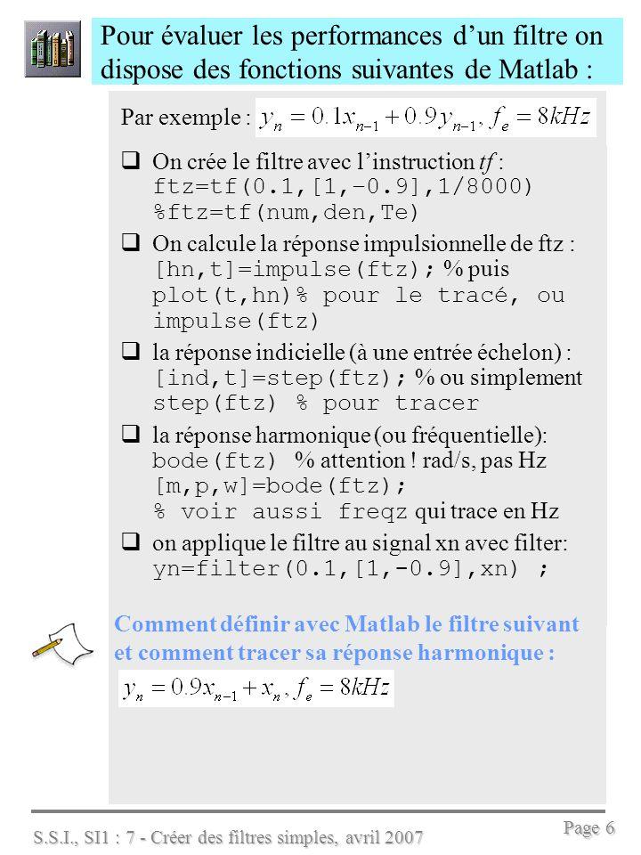 Pour évaluer les performances d'un filtre on dispose des fonctions suivantes de Matlab :