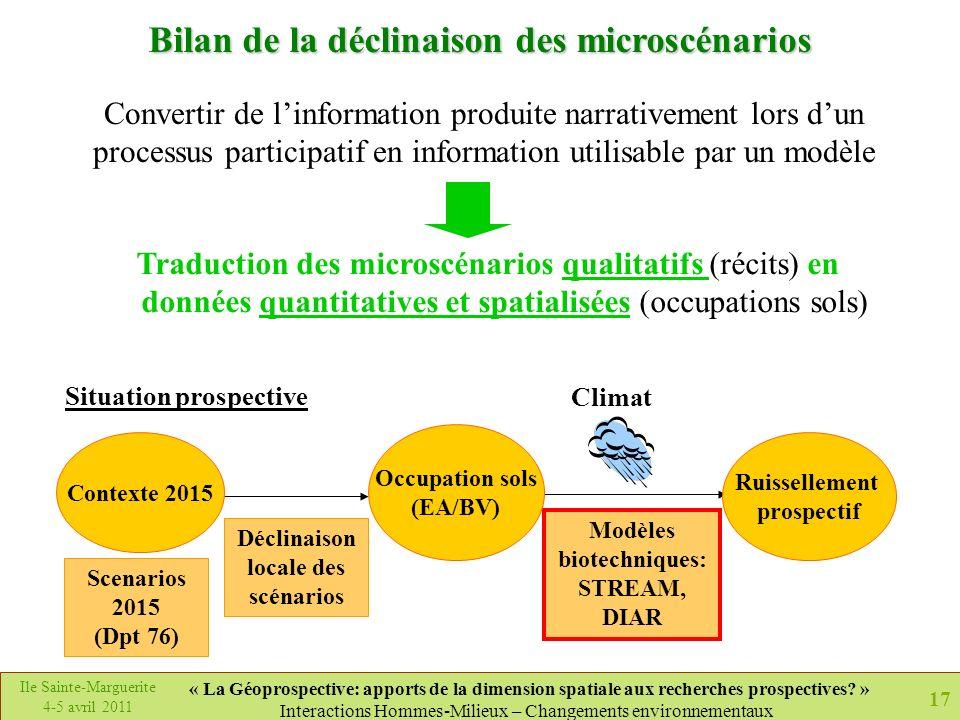 Bilan de la déclinaison des microscénarios