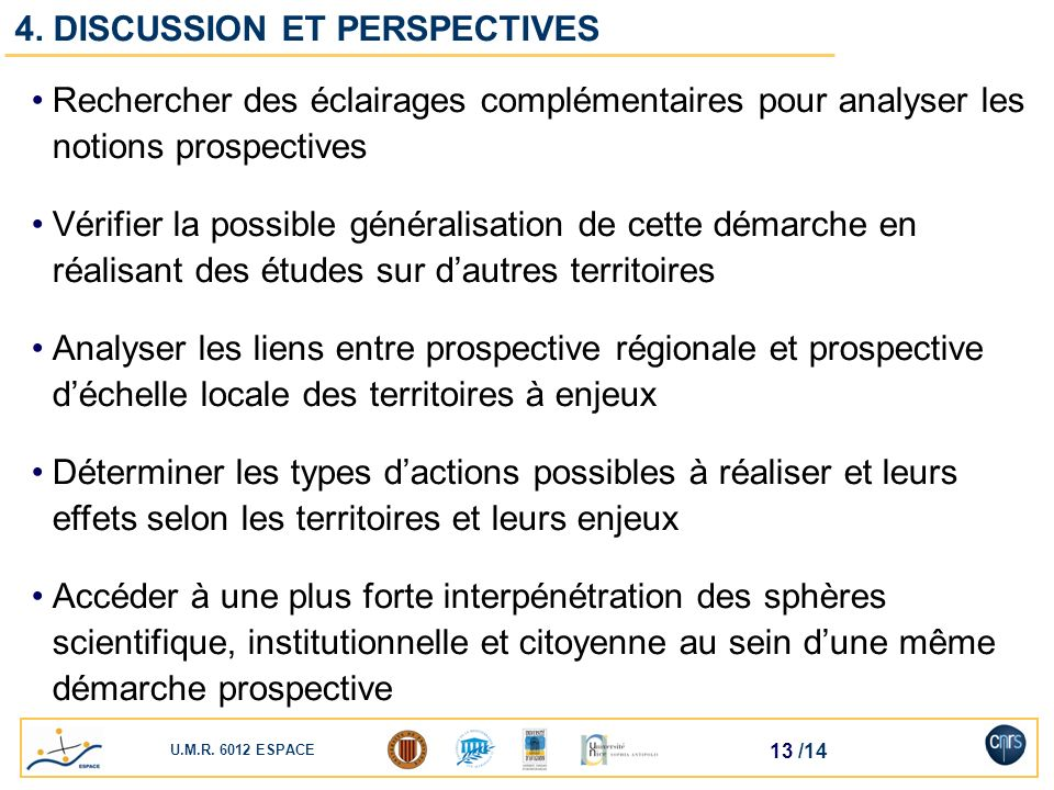4. DISCUSSION ET PERSPECTIVES