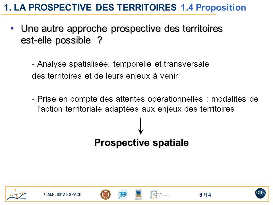 1. LA PROSPECTIVE DES TERRITOIRES 1.4 Proposition