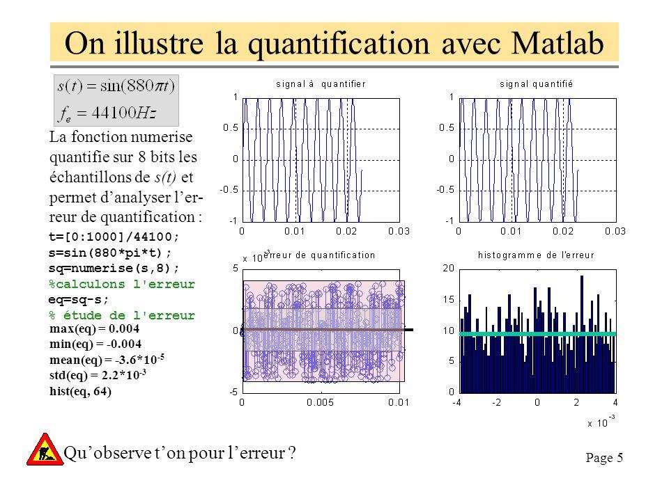 On illustre la quantification avec Matlab