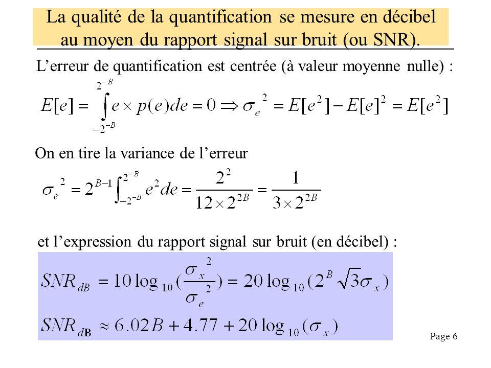 La qualité de la quantification se mesure en décibel au moyen du rapport signal sur bruit (ou SNR).