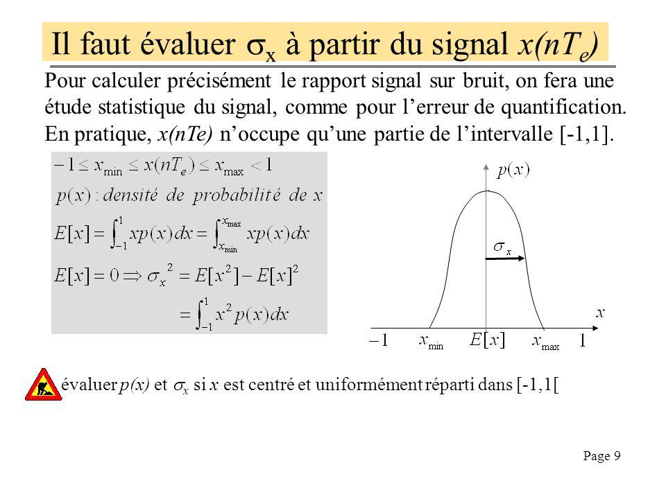 Il faut évaluer sx à partir du signal x(nTe)